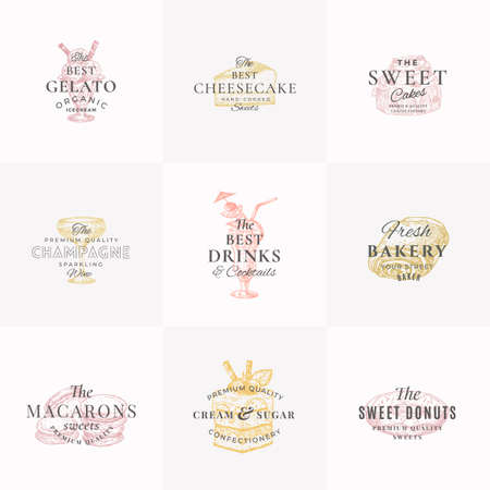 Confectionary Sweets and Drinks Abstract Signs, Symbols or Templates Collection. Hand Drawn Ice Cream, Donut and Cakes with Typography. Local Bakery Vector Emblems Concepts Set. Isolated