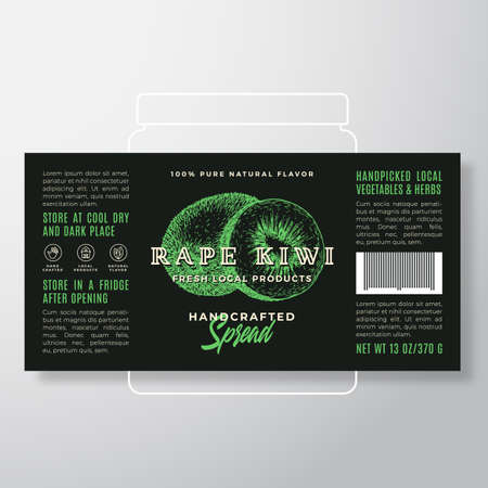 Handcrafted Fruit Spread or Jam Label Template. Abstract Vector Packaging Design Layout. Modern Typography Banner with Hand Drawn Kiwi with Half Silhouette Background.
