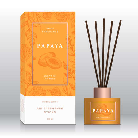 Papaya Home Fragrance Sticks Abstract Vector Label Box Template. Hand Drawn Sketch Flowers, Leaves Background. Retro Typography. Room Perfume Packaging Design Layout. Realistic Mockup. Isolated