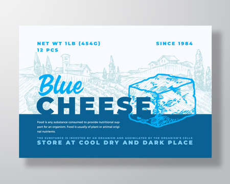 Dairy Food Label Template. Abstract Vector Packaging Design Layout. Modern Typography Banner with Hand Drawn Blue Cheese Cube and Rural Landscape Background. Isolated