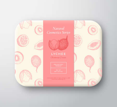 Lychee Bath Cosmetics Package Box. Abstract Vector Wrapped Paper Container with Label Cover. Packaging Design. Modern Typography and Hand Drawn Exotic Fruits Background Pattern Layout. Isolated Illustration