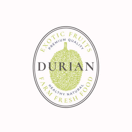 Durian Oval Frame Badge or Logo Template. Hand Drawn Fruits Sketch with Retro Typography and Borders. Vintage Premium Emblem. Isolated