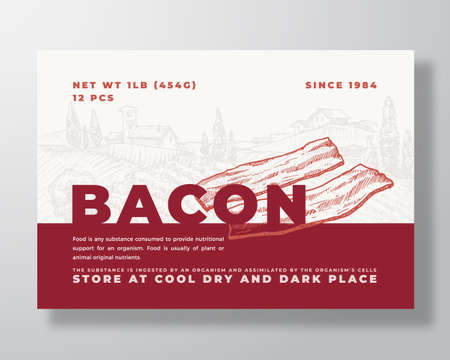 Meat Food Label Template. Abstract Vector Packaging Design Layout. Modern Typography Banner with Hand Drawn Bacon Slices and Rural Landscape Background. Isolated