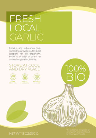 Fresh Local Vegetables Label Template. Abstract Vector Packaging Design Layout. Modern Typography Banner with Hand Drawn Garlic Sketch Silhouette Background. Isolated