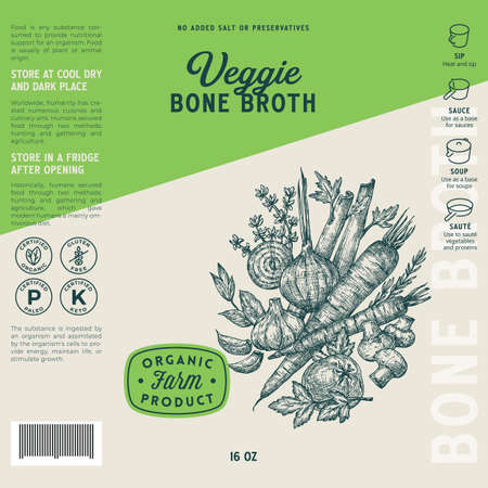 Veggie Bone Broth Label Template. Abstract Vector Food Packaging Design Layout. Hand Drawn Herbs and Vegetables Sketch Background with Typography Composition and Instruction Icons. Isolated
