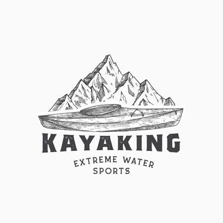 Kayaking Abstract Sign, Symbol or Template. Hand Drawn Kayak or Canoe Boat and Mountains Lanscape Sketch with Typography. Water Sports Vector Emblem Concept. Isolated