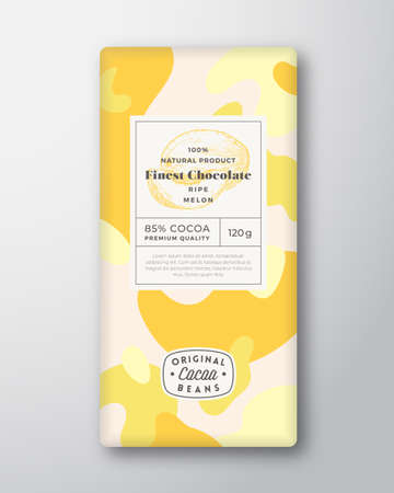 Melon Chocolate Label. Abstract Shapes Vector Packaging Design Layout with Realistic Shadows. Modern Typography, Hand Drawn Fruit Silhouette and Colorful Camouflage Pattern Background. Isolated