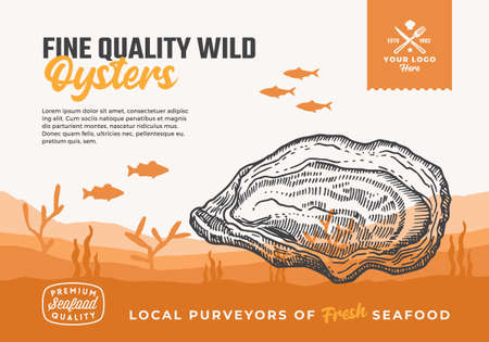 Fine Quality Organic Seafood. Abstract Vector Food Packaging Design or Label. Modern Typography and Hand Drawn Oyster and Fishes Silhouettes. Sea Bottom Landscape Background Layout with Banner