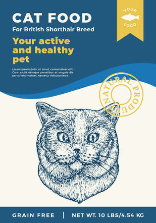 Cat Food Label Template. Abstract Vector Packaging Design Layout. Modern Typography Banner with Hand Drawn British Shorthair Breed Face Sketch Background. Isolated