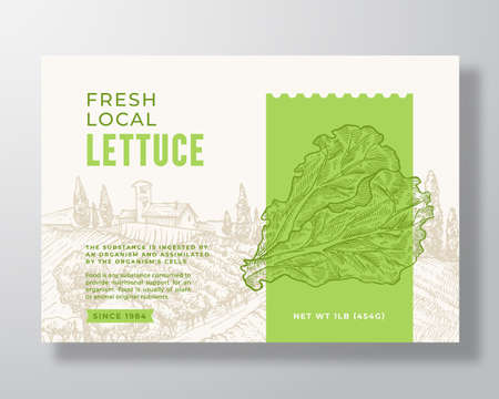 Vegetables Food Label Template. Abstract Vector Packaging Design Layout. Modern Typography Banner with Hand Drawn Lettuce Salad Leaves and Rural Landscape Background. Isolated Vettoriali