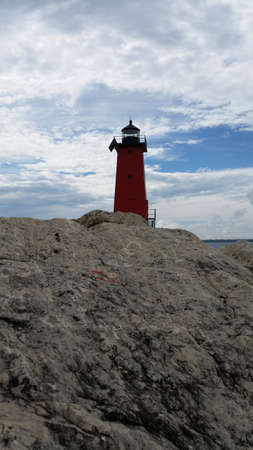 lake michigan lighthouse: Manistique lighthouse from rocks