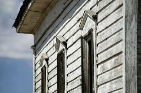 unused: Abandoned Church Windows Stock Photo