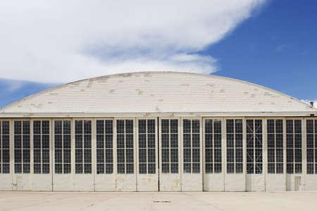 White airport hangar. Stock Photo