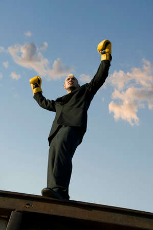 Businessman with punk hairdo and boxing gloves stands victorious with his arms in the air..