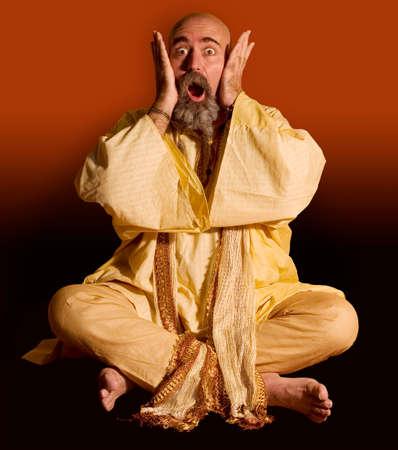 Funny guru sitting lotus style. Stock Photo - 1525924