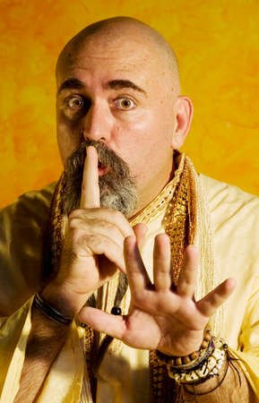 Funny bald guru with a long beaded beard. Stock Photo - 1525933