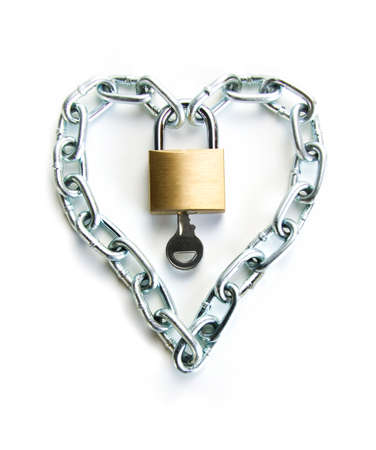 padlocked: A Padlocked Chain Shaped Lock a Heart and the Key to Open It