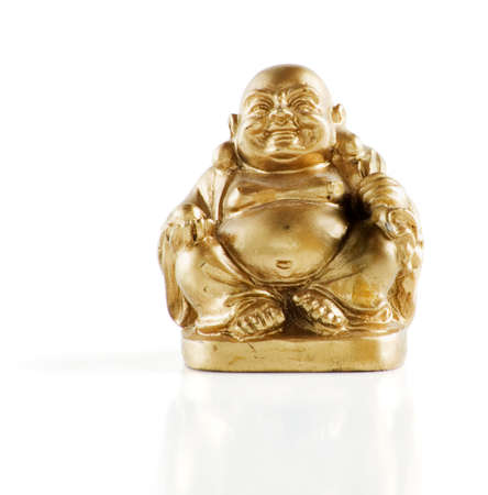 smiling buddha: Gold painted laughing buddha figurine isolated against a white background.