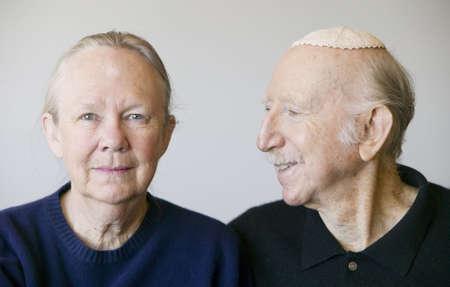 Close-up of elderly Jewish couple in studio. Stock Photo - 2341984