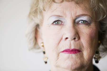 matron: Close-up of a senior woman with a blank look. Stock Photo