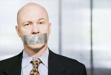 silenced: Businessman silenced with duct tape over his mouth