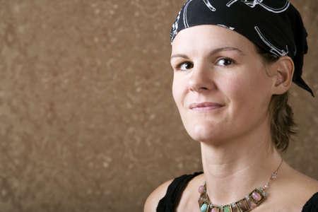 Pretty Woman Wearing a Bandana on Her Head Reklamní fotografie