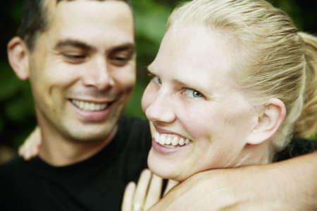 blonde hispanic: Handsome Hispanic Man and Pretty Blonde Woman