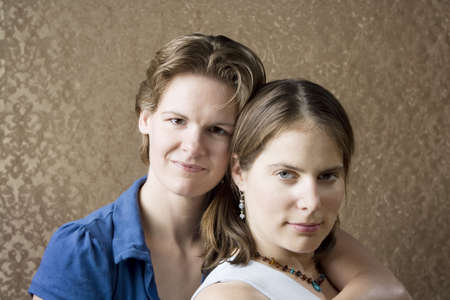 lesbians: Portrait of Two Pretty Young Women Friends