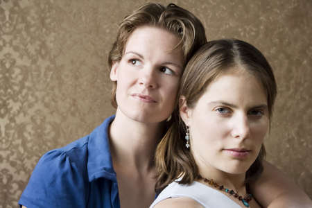 gay girl: Portrait of Two Pretty Young Women Friends