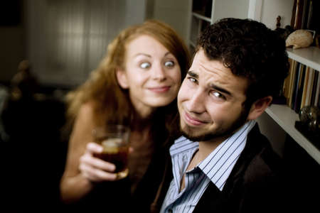 pursuing: Woman pursuing a man at a party makes him uncomfortable