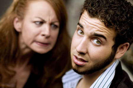 bawl: Young woman directs her anger at a man