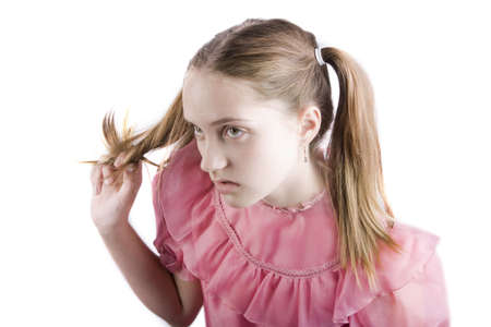 undisciplined: Bratty young girl with a disgusted expression on her face Stock Photo