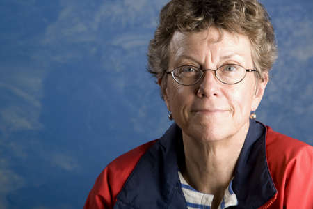 unemotional: Portrait of a senior woman in her sailing clothes