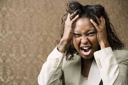 Close-Up Portrait of an Angry African-American Woman Stock Photo - 3620665