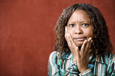 Close-Up Portrait of a Stressed African-American Woman photo