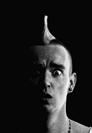 Confused Man with a Tall Pointed Mohawk