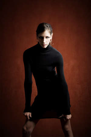 stretchy: Beautiful Woman in a Stretchy Black Dress