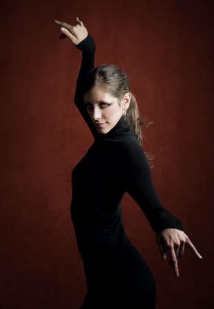 stretchy: Pretty Woman in a Stretchy Knit Black Dress