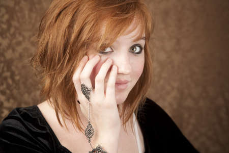 Portrait of pretty teen girl with red hair Stock Photo - 4440592