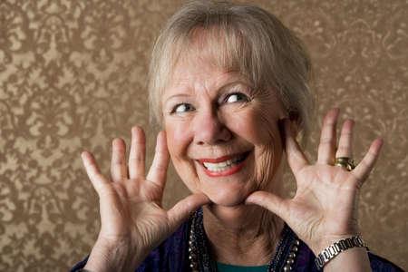Closeup Portrait of an Eccentric Senior Lady Stock fotó