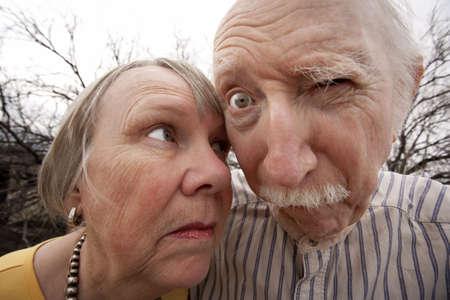 Closeup portrait of crazy elderly couple outdoors Stock fotó