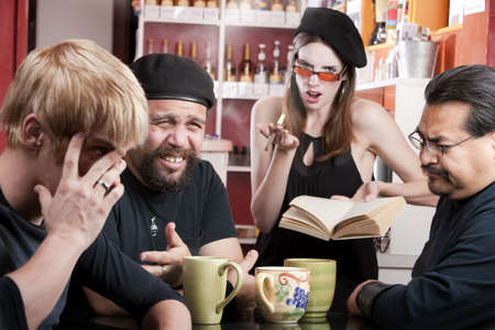 Three men listening to bad female poet with smoky cigarette in a coffee house Stock Photo - 4768086