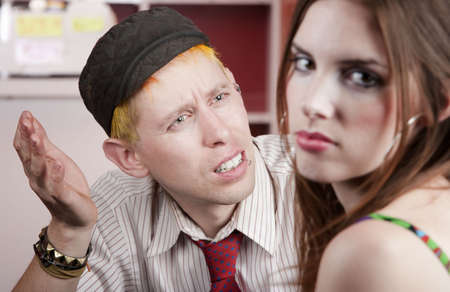 spat: Young man confused by disagreement with pretty woman