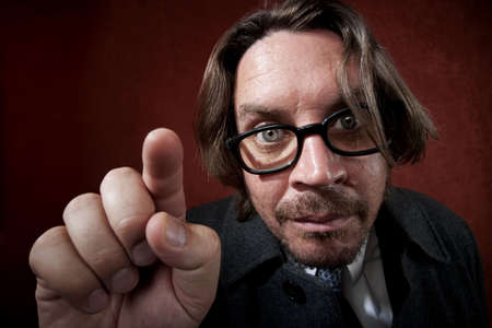 Potrait of worried rugged man with glasses making a funny face Stock Photo - 5176653