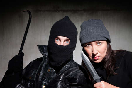 assailant: Male and female criminals wielding dangerous weapons
