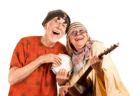 new age: Divertida pareja Senior New Age de m�sicos