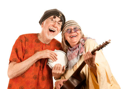 Funny New Age Senior Couple of Musicians photo