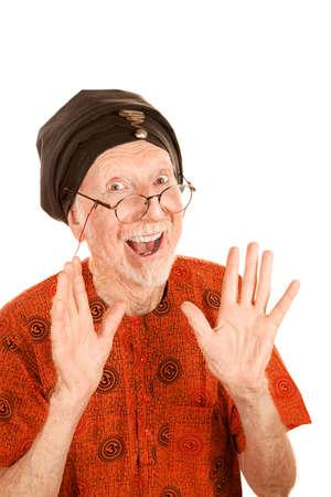 new age: Feliz hombre Senior New Age en turbantes negros Foto de archivo