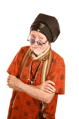 new age: Senior New Age Man with Crossed Arms Stock Photo