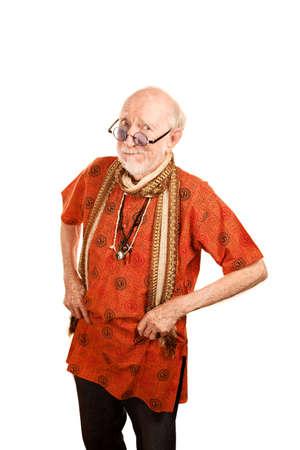 Skeptical New Age Man in Bright Orange Shirt